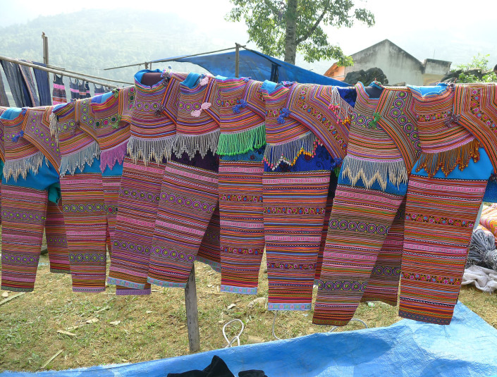 Sweaters for sale at Can Cau market